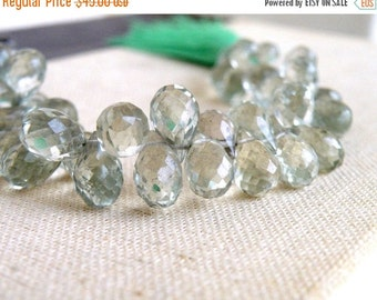 Clearance SALE Green Amethyst Gemstone Briolette Prasiolite Faceted Teardrop 10.5 to 11.5mm 24 beads