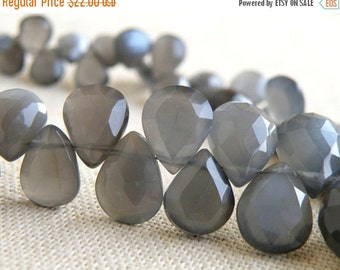 51% Off Sale Grey Moonstone Gemstone Briolette Faceted Pear Teardrop 7 to 9mm 27 beads 1/2 strand