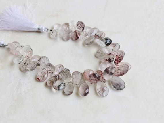 Moss Amethyst Gemstone Briolette Faceted TearDrop Pear 9 to 10mm 23 beads