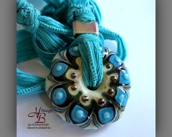 1 Beads Pendant turquoise., Beadset, SRA B131,colorful beads set, Lampwork, Murano