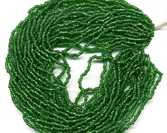 """Vintage Emerald Seed Beads Size 10/0 Foil Lined Green Glass 10"""" Long 12 Strand Hank"""