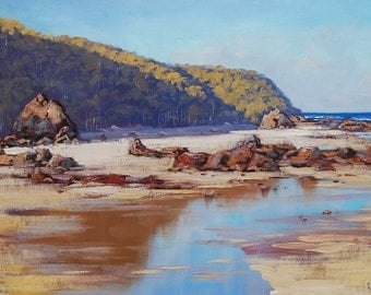 REALISTIC BEACH PAINTING Rocky seascape fine art by g.gercken