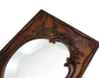 Lucite Mirror Box - Vintage Vanity Jewelry Box, Art Nouveau Cherub
