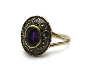 Antique Amethyst Ring - 14k Gold Victorian, Etruscan Revival, February Birthstone Jewelry, Engagement Ring