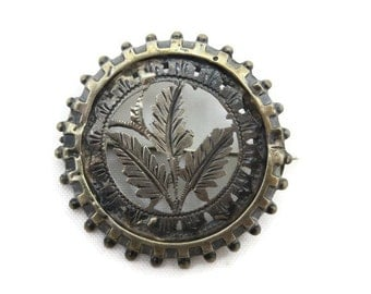 Silver Etched Brooch - Antique Mourning Brooch