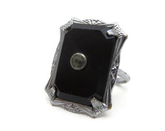 Art Deco Jewelry Ring - Black Glass, Paste Stone, Pinkie Ring