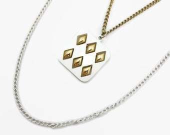Gold and White Enamel Necklace - Summer Costume Jewelry, 1970s