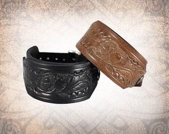 Oak and Acorn - Leather Watch Cuff, Leather Watch Strap, Leather Watch Band, Covered Watch Cuff, Watch Cuff - Custom to You (1 cuff only)