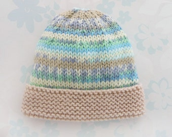 PREEMIE HAT - to fit 2.5 to 5.5 lb baby boy - NICU Kangaroo Care - baby yarn in shades of brown, teal, green and white with light brown brim