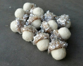 Wool Needle Felted Acorns Winter White with Mica Flakes Set of 12