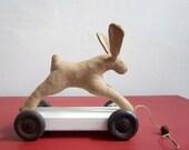 little vintage style pull-along rabbit (black wheels)