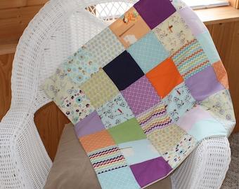 Modern Baby Girl Quilt, Baby Blanket, Dress Up Days, Patchwork, Bikes, Purple, Chevron, Flowers
