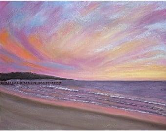 Sunset Pier Painting Print