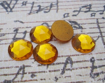 6 Vintage 15mm Czech Topaz Rauten Rose Gold Foiled Flat Back Faceted Glass Cabs