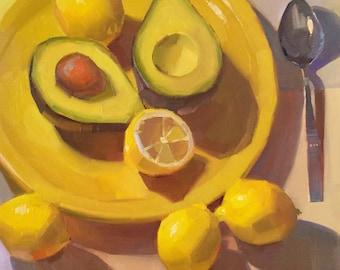 "Art painting still life ""Avocado Appetizer"" original oil by Sarah Sedwick 12x12"""
