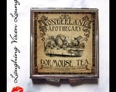 Dormouse Tea Pill Box - Alice In Wonderland Bag Accessories - Compact Mirror - Magic Potion Label - Looking Glass Pill Case - Makeup Mirror