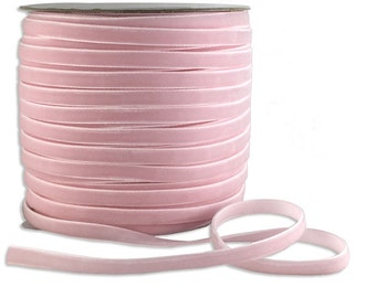 Three Yards Velvet Ribbon Trim Pale Pink  1/4 Inch Wide VR200-PPK