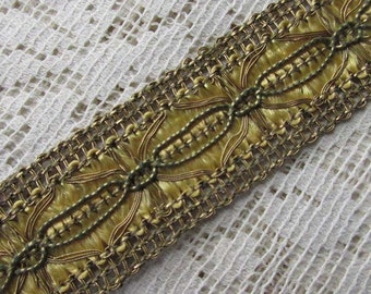 """1 Yard Vintage Metallic Trim Ribbon 1"""" Wide Gold & Gold Very Fancy Old Store Stock OST 100"""