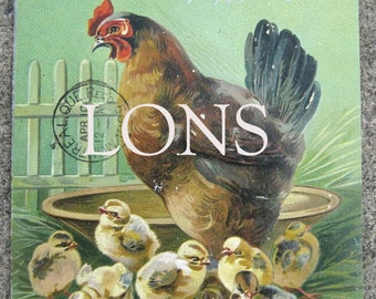 Victorian 1909 postcard USED Happy Easter embossed Chromolithograph Hen and Chicks TUCKS postcard