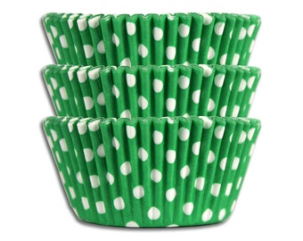 Green Polka Dot Baking Cups - 50 paper cupcake liners