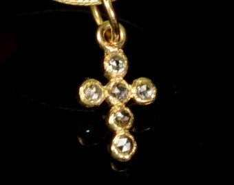 6.8mmx11.5mm 14k Solid Yellow Gold Rose Cut Champagne Diamond Cross Charm Pendant