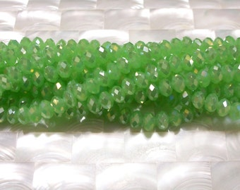 35pcs 8mm Chinese Crystal Glass Beads Rondelles Faceted Opaque Spring Green Iridescent AB Jewelry Jewellery Craft Supplies