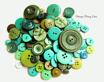 Vintage Green Plastic Button Lot / 100