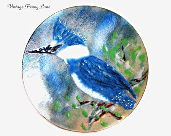 Vintage Enamel Copper Bowl, Trinket Dish, Kingfisher / Bird