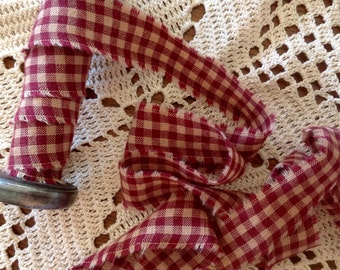 LAST ONE- 2 Yards long X 1 Inch wide - Primitive Homspun Gingham Ribbon,- Burgandy -  Distressed and hand frayed.