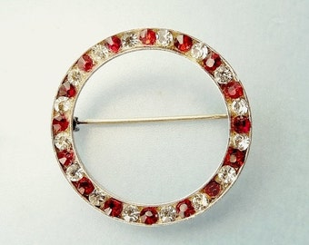 Vintage Sterling Silver Red Rhinestone Circle Brooch