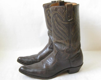 Vintage 70's Brown Leather Cowboy Boots. Size 9 Men's