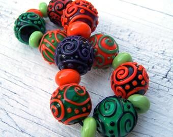 Lampwork Bead Set (19) - orange, black, purple, green - Halloween Runes - SRA AutEvDesigns, ISGB