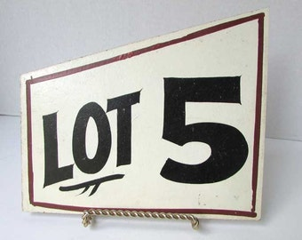 Vintage 1960's Hand Painted Real Estate Lot Number Small Signs, Lot 5, Room Wall Decor, Student Decor, Vintage Sign, Black and White