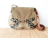 satchel • waxed canvas crossbody bag - geometric print • hand printed khaki canvas - triangle print - brown waxed canvas • vukani