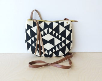 date purse  • small cross body purse - handprinted • black and white triangle geometric print - black canvas • vukani