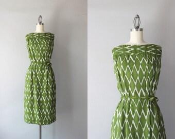 1960s Dress / Vintage 1960s Oleg Cassini Harlequin Print Dress / 60s Gauzy Cotton Bow Belt Dress