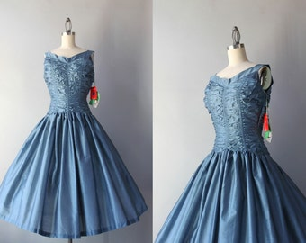 1950s Party Dress / 50s Ruched Blue Party Dress / 1950s Deadstock Silk Bow Back Dress