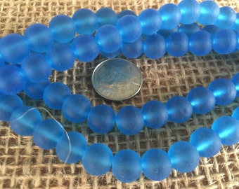 Sea glass beads 8mm 24pcs pacific blue