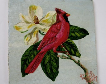 Naive art - small painting of a cardinal bird on magnolia flower tree branch on canvas board with acrylic paint