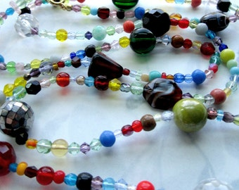 long necklace made with vintage glass beads - j5448
