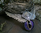 Gothic Steampunk Purple Eye Wing Necklace