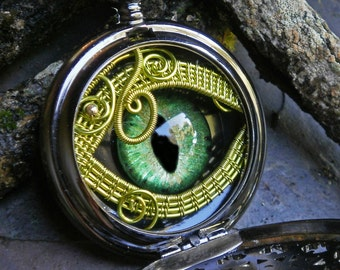 Gothic Steampunk Black Pocket Watch with Bright Green Eye