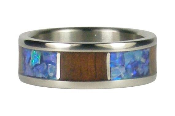 Australian Blue Opal and Koa Wood Ring