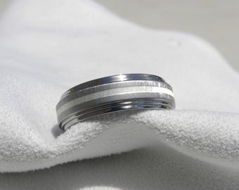 Titanium Ring with Silver Stripe, Wedding Band, Unique Ring