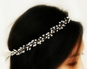 Boho Bridal Freshwater Pearl Hair Vine, Halo Headpiece, Crown Bridal Hair Accessories