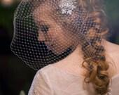 Crystal Love-Bridal Birdcage Veil-Ostrich Plume-Vintage Rhinestones- CRBoggs Original Design