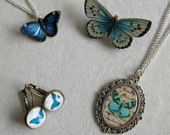 Butterfly gift set, butterfly necklace, butterfly brooch, butterfly earrings