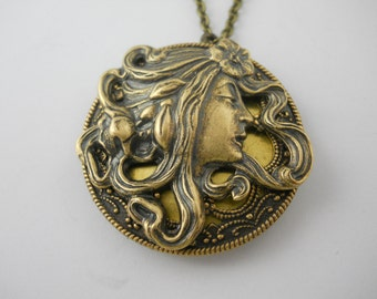 Art Nouveau Inspired Brass Vintage Locket with Woman Goddess Renaissance Charm on Brass Chain Large Locket Lady with Flower Head Hair Band