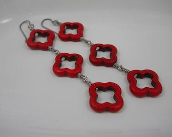 Earrings Long Dangle Red Howlite Stone Trefoil Beads Boho Style Earrings Southwest Day of the Dead  Handmade Bohemian Festival Jewelry
