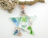 Green and Blue Fused Glass Star Suncatcher Ornament - Glass Star - Limited Edition